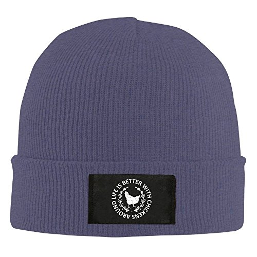 CustomHK Cool Beanie Life Is Better With Chickens Around Knit Cap Navy