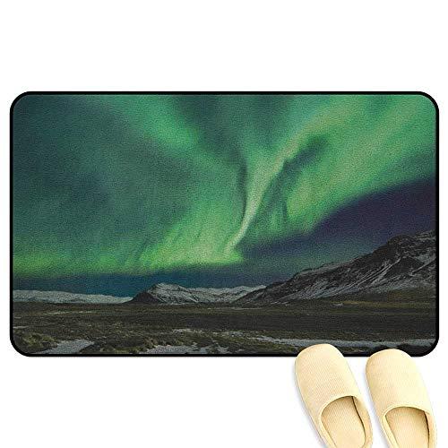 (Northern Lights Floor Comfort Mat Flash of Aurora Polaris above Mountains in Night Picture Jade and Army Green Blue Grey Indoor/Outdoor/Front Door/Bathroom Mats Rubber Non Slip W39 x L63)