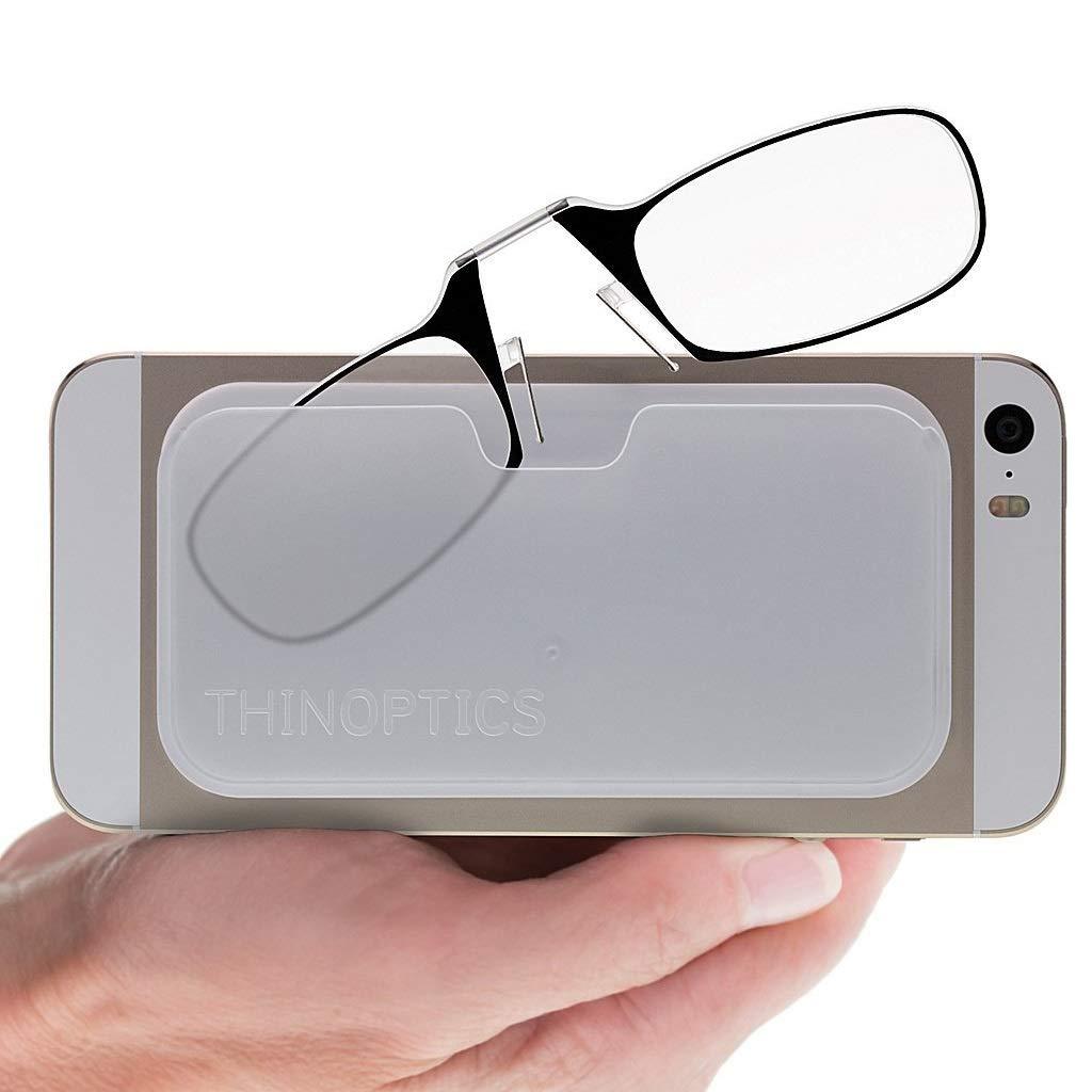 b1f91cd00121 ThinOptics Reading Glasses + Black Universal Pod Case | Classic Collection,  Black Frames, 1.50 Strength
