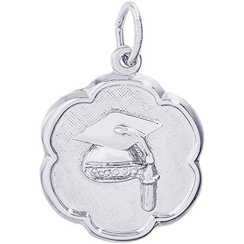 (Rembrandt Charms Sterling Silver Graduation Cap Scalloped Disc Charm (18 x 18 mm))