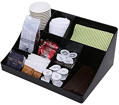 """Vencer """"Cuby"""" 10 Compartment Condiment Holder, Coffee and Tea Bag Organizer, Black;VCO-001"""