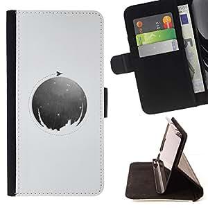 Momo Phone Case / Flip Funda de Cuero Case Cover - Luna Círculo;;;;;;;; - Samsung ALPHA G850