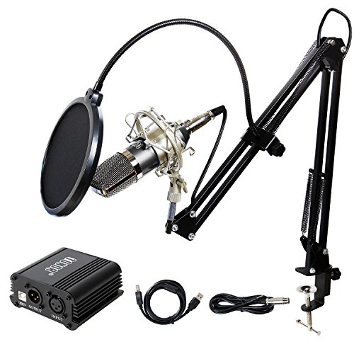 TONOR Pro Condenser Microphone XLR to 3.5mm Podcasting Studio Recording Condenser Microphone Kit Computer Mics with 48V Phantom Power Supply Black Gold Diaphragm Studio Condenser Microphone