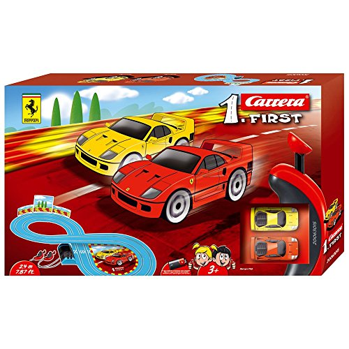 Carrera First Ferrari Slot Car Race Track - Includes 2 Cars: Red and Yellow Ferrari and Two-Controllers - Battery-Powered Beginner Set for Kids Ages 3 Years and Up (Best Slot Car Controller)