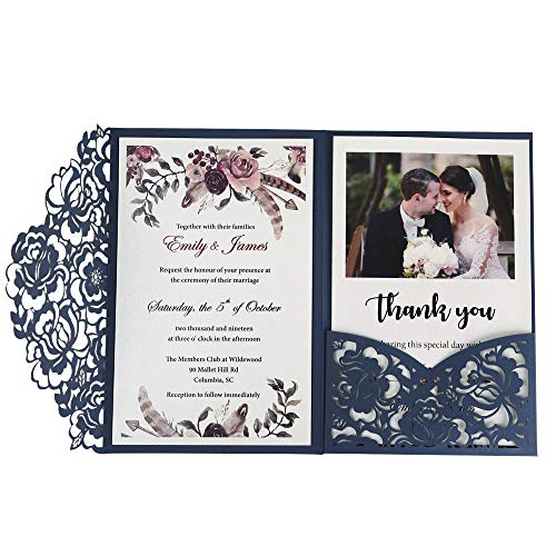 Make Printable Halloween Invitations (Doris Home 50pc 4.7 x7 inch Blue Laser Cut Hollow Floral Wedding Invitations Cards with Envelopes for Wedding Bridal Shower)