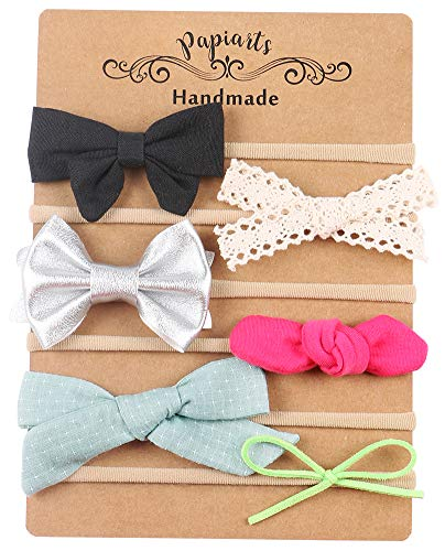 Baby Girl Headbands and Bows, Skinny Nylon Headbands, Assorted 6 Packs of Hair Accessories for Newborn Toddler Girls ()