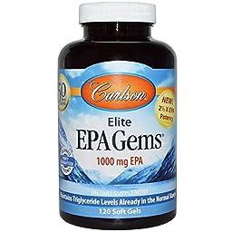 Carlson Labs, Elite EPA Gems, 1000 mg, 120 Soft Gels