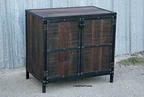 Rustic Industrial Nightstand. Steel Vintage End Table.
