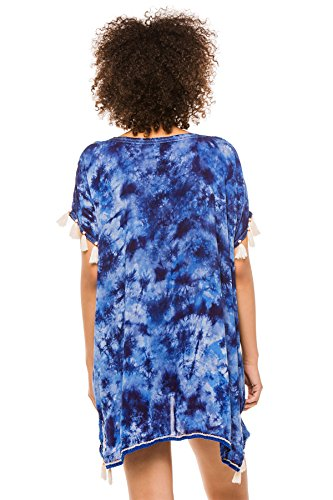 Surf Gypsy Women's Wovens Tunic Swim Cover Up Blue/White M