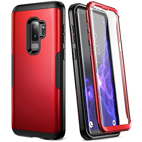 Galaxy S9+ Plus Case, YOUMAKER Metallic Red with Built-in Screen Protector Heavy Duty Protection Shockproof Slim Fit Full Body Case Cover for Samsung Galaxy S9 Plus 6.2 inch (2018) - Red/Black