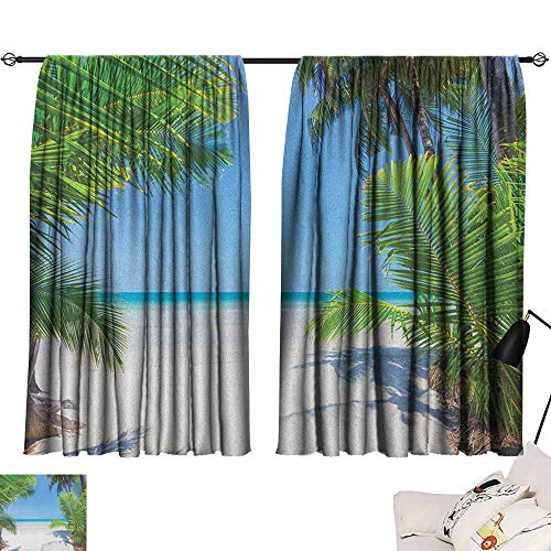 Thermal Insulated Room Darkening Window Shade Ocean,Palm Leaves and Tropical Beach Coastline Seashore Vacation Theme Photo, Green Sky Blue White 54