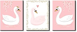 Big Dot of Happiness Swan Soiree - White Swan Nursery Wall Art and Kids Room Decorations - Gift Ideas - 7.5 x 10 inches - Set of 3 Prints