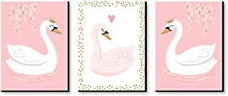 product image for Big Dot of Happiness Swan Soiree - White Swan Nursery Wall Art and Kids Room Decorations - Gift Ideas - 7.5 x 10 inches - Set of 3 Prints