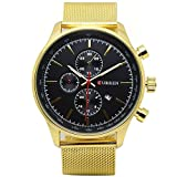 CURREN Original Men's Sports Waterproof Stainless steel Date Watch Good Quality 8227 Gold Black