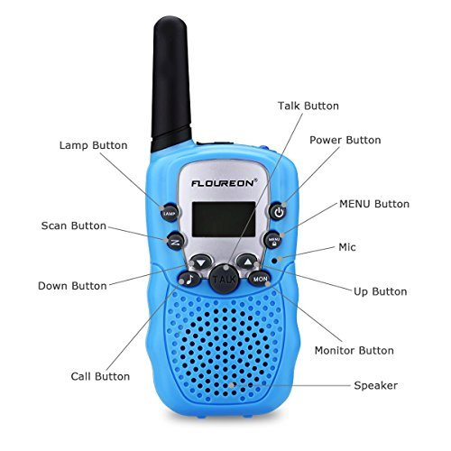 floureon Walkies Talkies for Kid Toy Walkies Talky 22 Channel Two Way Radios Long Range (Blue x 4) by floureon (Image #8)