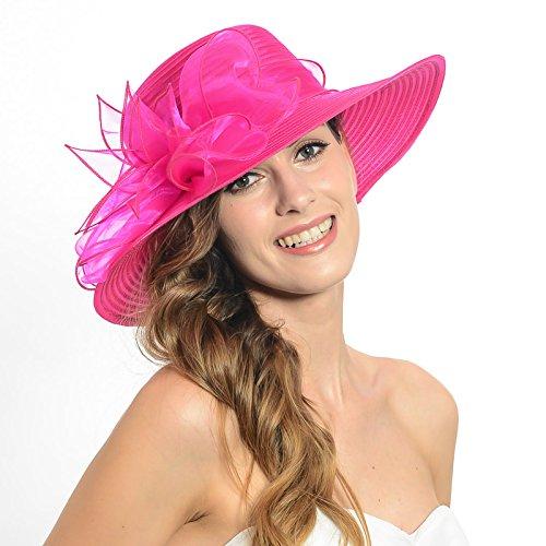 Wimdream Vintage Kentucky Women Race Hats Organza Wide Brim Hat Ironed S062-P