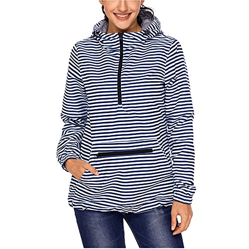Lrady Women's Raincoat Active Outdoor Waterproof Rain Jacket Hooded Windbreaker, Striped, Medium (Windbreaker Pullover Lined)