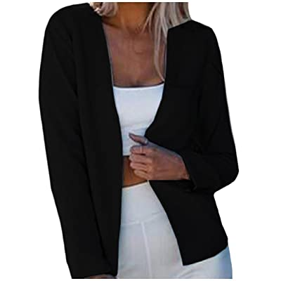Abetteric Women's Short Style Slim Fitting Cardigan Solid Suit Pockets Coat