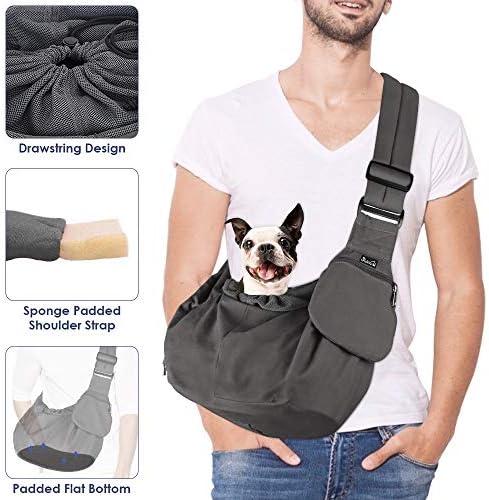 SlowTon Tragetuch Hund, Papoose Hand frei Tragetücher für Hunde Welpe Katze Tragetasche mit Boden unterstützt Verstellbarer Schultergurt und Sicherheitsgurt für kleine Hunde für den täglichen