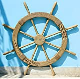 Wood Crafted Sailor's Special Nautical Pirate's Pine Ship Wheel Roped | Vintage Home Decor | Wall Decor Hanging | Nagina International (42 Inches)