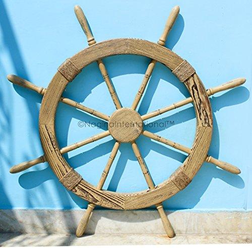 Wood Crafted Sailor's Special Nautical Pirate's Pine Ship Wheel Roped | Vintage Home Decor | Wall Decor Hanging | Nagina International (36 (Nantucket Ships Wheel)