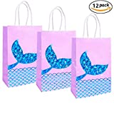 JeVenis Mermaid Gift Bags Mermaid Party Supplies Favors Goodies Bag Glitter Treat Bags for Under the Sea Party Mermaid Gifts for Girls Set of 12