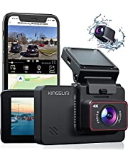 """Kingslim D4 4K Dual Dash Cam with Built-in WiFi GPS, Front 4K/2.5K Rear 1080P Dual Dash Camera for Cars, 3"""" IPS Touchscreen 170° FOV Dashboard Camera with Sony Starvis Sensor, Support 256GB Max"""