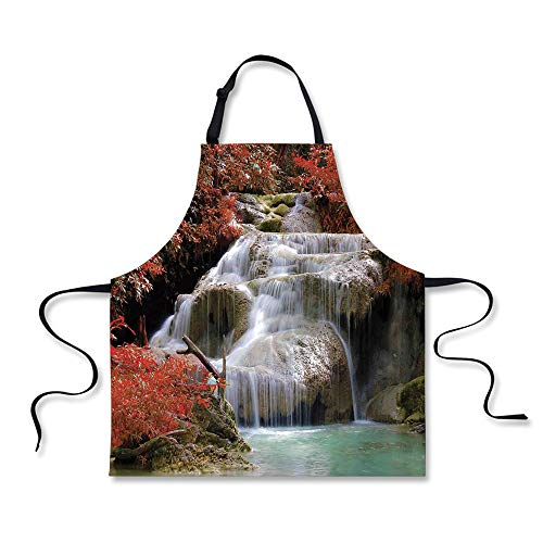 iPrint Custom Apron,Waterfall Decor,Waterfalls Flow Through Giant Rocks Surrounded by Fall Trees,Red White and Light Brown,Home Apron.29.5