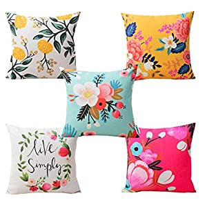 CIDIZY Set of 5 Velvet Decorative Floral Print Multicolor Cushion Covers 16 x 16 inches