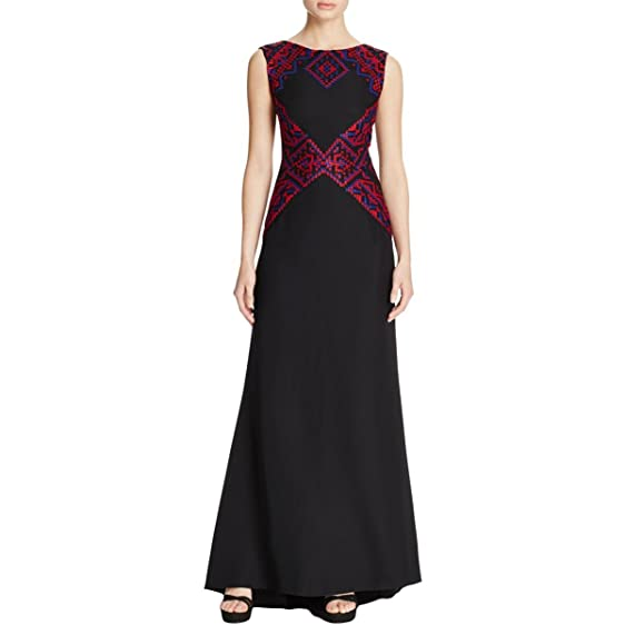 Tadashi Shoji Womens Crepe Embroidered Formal Dress Black 12 at ...