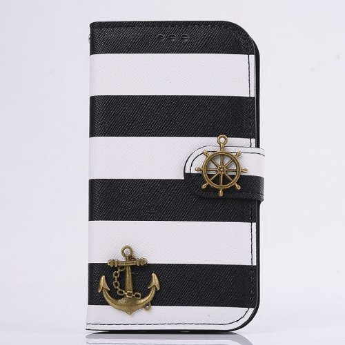Big Mango Fashion Colorful Stripes and Pirates Boat Design Flip Folio PU Leather Wallet Case with Cover for Samsung Galaxy S4 SIV i9500 with ID Card Holders & Magnet Closure & Stand