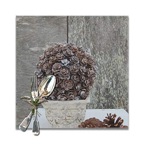 RobotDayUpUP Pinecone Topiary Placemats Table Mats 12x12 Inches Set of 6 Kitchen Dining Outdoor (Pinecone Topiary)
