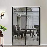 Magnetic Screen Door 72x80, Mesh French Screen Fiber Heavy Duty Large Double Door Insect Screen Mesh Fit Your Door Size 70W X 79H Inch with Full Frame Velcro Front Door Screen(72 X 80 Inch, Gray)