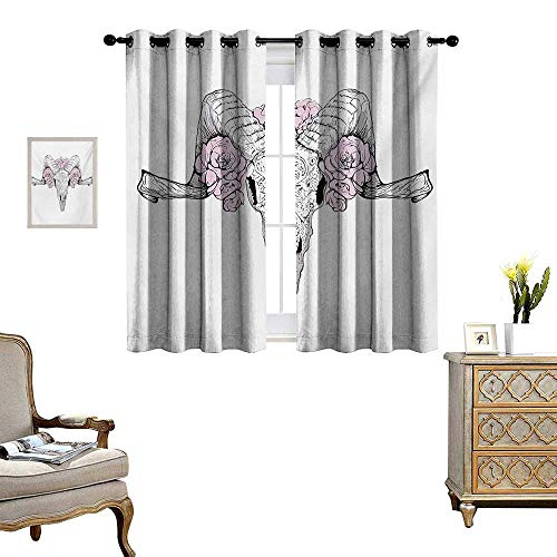 WinfreyDecor Skull Thermal Insulating Blackout Curtain Bones of a Lamb with Rose Flowers Spiritual Oriental Creepy Bohemian Graphic Print Patterned Drape for Glass Door W72 x L72 Lilac Grey ()