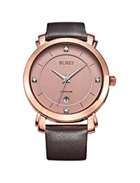BUREI Women's Simple Rose Gold Watches with Date Diamond Analog and Sapphire Crystal Brown Leather Strap