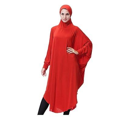 Somoll Mujer Musulmana Suave y cómoda Bata Completa Hijab ...