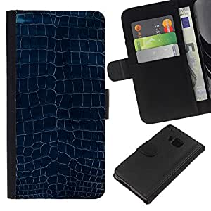 KingStore / Leather Etui en cuir / HTC One M7 / Patrón Dise?o Turquesa Azul Textura Arte