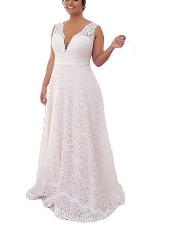 Drehouse Womens Vintage Lace Low Cut Mermaid Wedding Dresses Plus