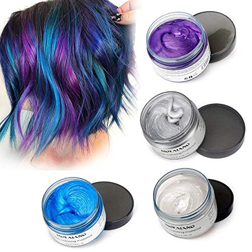 Mofajang Hair Color Wax,INST Temporary Hair Dye,Hair Coloring Wax,Washable Temporary, Natural Hairstyle Color Wax for Party,Halloween,Cosplay (White+Grey+Blue+Purple)