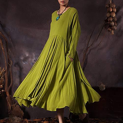 One Size Femmes Pour green color Robe Green Longues Size Yellow Et Avec Vintage Longue Balançoires Manches Igspfbjn À Irrégulières Poches ZxHaqH0