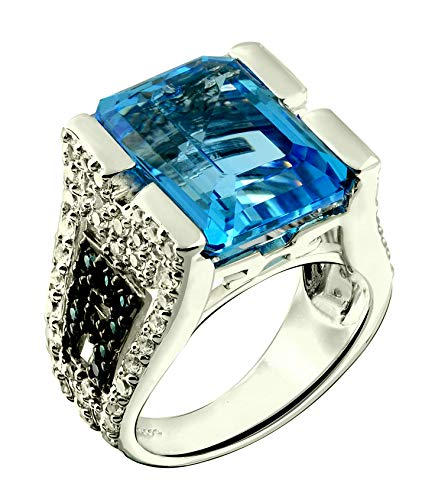 - RB Gems Sterling Silver 925 STATEMENT Ring GENUINE GEMS Octagon 16x12 mm, Rhodium-Plated, Baroque Style (swiss-blue-topaz, 9)