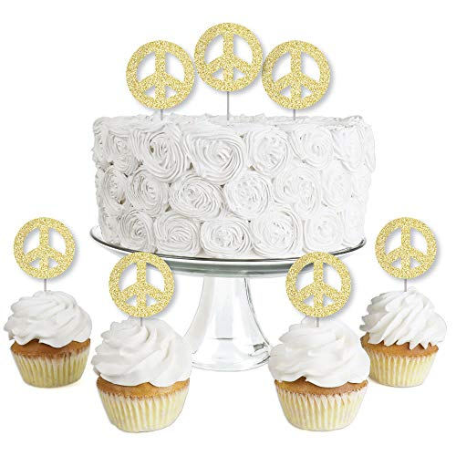 Gold Glitter Peace Sign - No-Mess Real Gold Glitter Dessert Cupcake Toppers - 60's Hippie Groovy Party Clear Treat Picks - Set of 24]()