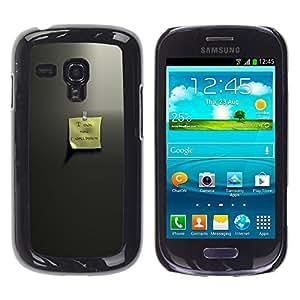 KLONGSHOP // Cubierta de piel con cierre a presión Shell trasero duro de goma Protección Caso - Estimado memo - Samsung Galaxy S3 MINI 8190 //