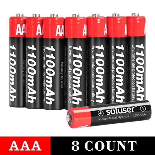 AAA Rechargeable Batteries, Rechargeable AAA Batteries1100mAh High-Capacity AAA Batteries 1.2V Ni-MH Low Self Discharge…