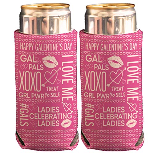 VictoryStore Slim Can Coolers: Happy Galentine's Day Slim Can Cooler for 12oz Tall Skinny Cans, For Bachelorette Party…
