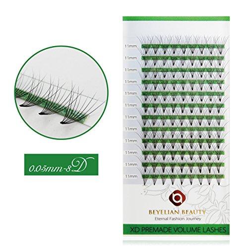 BEYELIAN Premade 8D Volume Fans Eyelash Extensions Semi Permanent Lash Extensions (0.05mm 11mm C Curl 108 pcs)