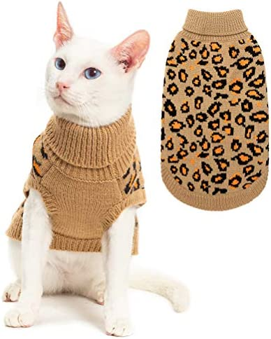 Mihachi Winter Leopard Warm Cat Sweater Fashion Knit Vest for Cats Puppy Small Animals Brown 19
