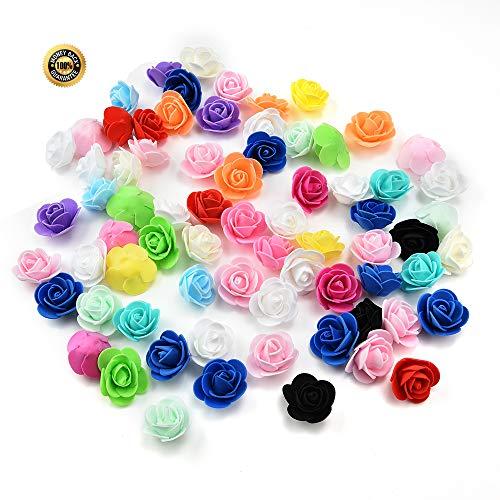Artificial Mini PE Foam Rose Flower Head Handmade DIY Wedding Home Decoration DIY Scrapbooking Fake Flower Kiss Ball 50PCS/Lot 3cm (Multicolor)