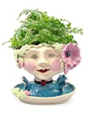 Victorian Lovelies Sculpted Pottery Indoor Head Planter: Poppy Pink Version