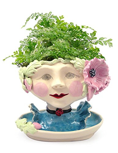 Victorian Lovelies Sculpted Pottery Indoor Head Planter: Poppy Pink Version by Modern Artisans